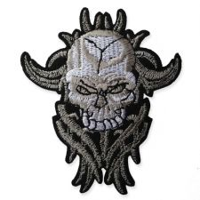 FIRE SKULL MOTIF IRON ON EMBROIDERED PATCH APPLIQUE